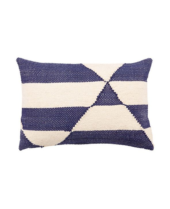 "Jaipur Living Nikki Chu By Otway Cream/Blue Geometric Poly Throw Pillow 16"" x 24"""