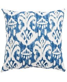 "Jaipur Living Rivoli Fresco Blue/White Ikat Indoor/ Outdoor Throw Pillow 18"""
