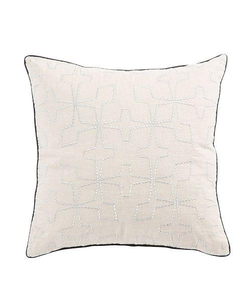 "Jaipur Living Nikki Chu By Greta Cream/Silver Geometric Down Throw Pillow 22"""