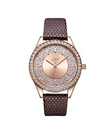 10 YR Anniversary Women's Mondrian Diamond (1/8 ct.t.w.) Leather  Watch