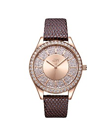 JBW 10 YR Anniversary Women's Mondrian Diamond (1/8 ct.t.w.) Leather  Watch
