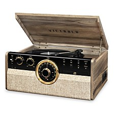 6-in-1 Wood Empire Mid Century Modern Bluetooth Record Player with 3-Speed Turntable, CD, Cassette Player and Radio