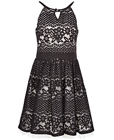 Sequin Hearts Big Girls Place Lace Cutout Halter Dress, Created for Macy's