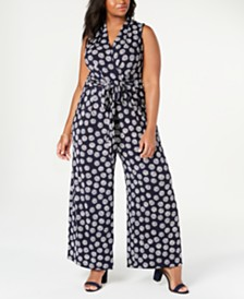 Jessica Howard Plus Size Sleeveless Printed Tie-Waist Jumpsuit