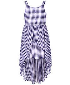 Sequin Hearts Big Girls High-Low Overlay Gingham Dress