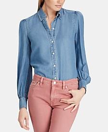 Lauren Ralph Lauren Puff-Sleeve Denim Shirt
