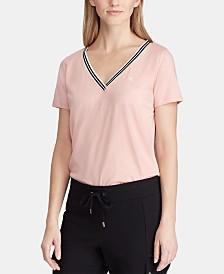 Lauren Ralph Lauren Striped-Trim T-Shirt