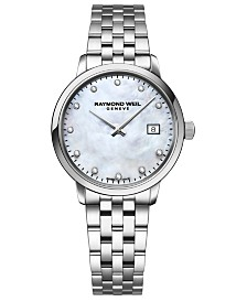 RAYMOND WEIL Women's Swiss Toccata Diamond-Accent Stainless Steel Bracelet Watch 29mm