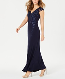 Calvin Klein Embroidered Illusion-Mesh Gown
