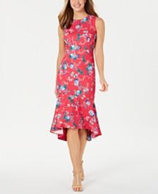 Calvin Klein Floral-Print Flounce-Hem Midi Dress