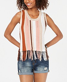 Juniors' Open-Knit Fringed Tank Top