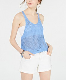 Juniors' Sleeveless Knit Mesh Top