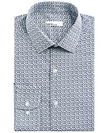 Men's Slim-Fit Stretch Leaf Print Dress Shirt, Created for Macy's