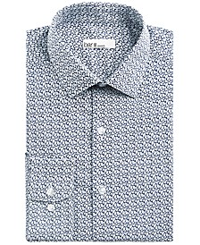Bar III Men's Slim-Fit Stretch Leaf Print Dress Shirt, Created for Macy's