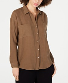 Eileen Fisher Organic Cotton Crinkle Shirt, Regular & Petite