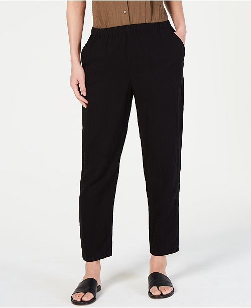 Eileen Fisher Crinkle Tapered Pull-On Pants, Regular & Petite
