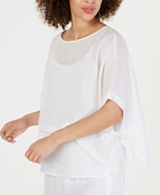 Eileen Fisher Organic Linen Boat-Neck Cropped Poncho