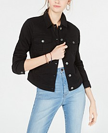 Juniors' Black High-Low Jean Jacket