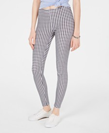Planet Gold Juniors' Gingham-Printed Brushed Jersey Leggings