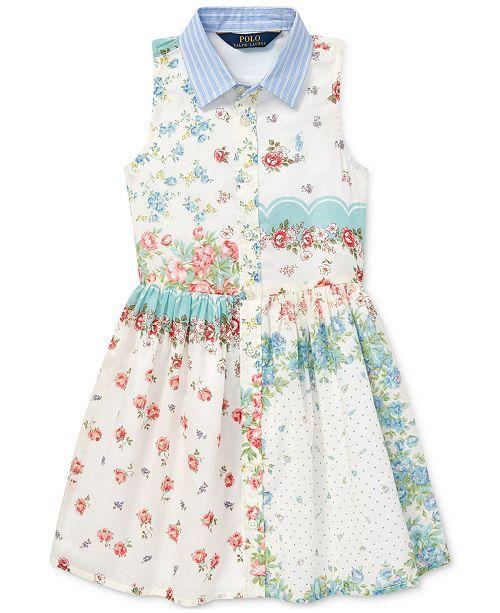 Polo Ralph Lauren Little Girls Floral Cotton Shirtdress