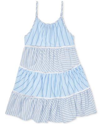 폴로 랄프로렌 여아용 원피스 Polo Ralph Lauren Toddler Girls Tiered Striped Cotton Dress,Blue