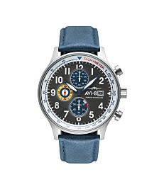 AVI-8 Men's Japanese Quartz Chronograph Hawker Hurricane, AV-4011-0F, Blue Leather Strap Watch 42mm