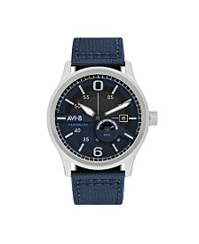 AVI-8 Men's Japanese Automatic FlyBoy Centenary 1980's, AV-4061-02, Blue Cordura Leather Strap Watch 43mm