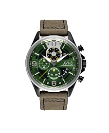 AVI-8 Men's Japanese Quartz Hawker Harrier II Turbine Edition, AV-4051-02, Green Leather Strap Watch 45mm