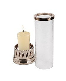 Candle Pillar Holder with Rose Gold Base and Trim
