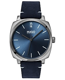 HUGO Men's #Own Blue Leather Strap Watch 40mm