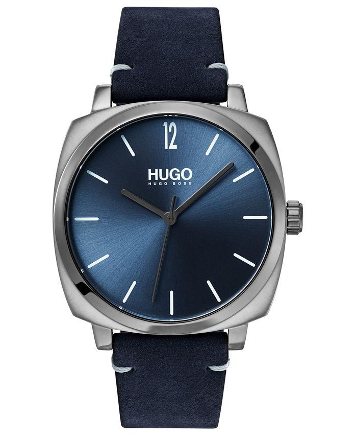HUGO - Men's #Own Blue Leather Strap Watch 40mm