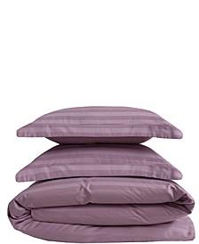 Cooling Cotton Satin Stripe Full/Queen Duvet Set