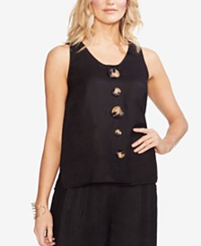 Vince Camuto Linen Tank Top with Tortoise-Look Buttons