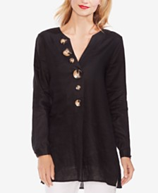 Vince Camuto Linen Tunic with Tortoise-Look Buttons