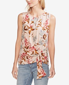 Vince Camuto Graceful Wildflower Asymmetrical Side-Tie Blouse