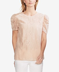 Vince Camuto Lace Puff-Sleeve Top