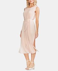 Vince Camuto Pleated Overlay Sleeveless Dress