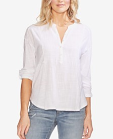 Vince Camuto Textured Henley Top