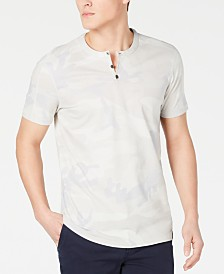DKNY Men's Camo-Print Henley T-Shirt