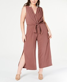 Monteau Juniors' Trendy Plus Size Tie-Front Jumpsuit
