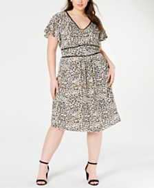 Monteau Juniors' Trendy Plus Size Animal-Print Dress
