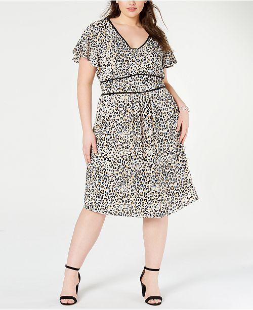 Monteau Juniors\' Trendy Plus Size Animal-Print Dress & Reviews ...