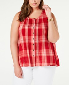 Style & Co Plus Size Summer Check Sleeveless Top, Created for Macy's