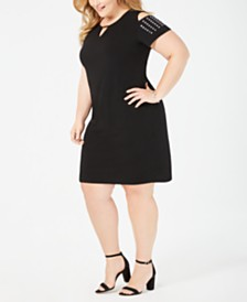JM Collection Plus Size Studded Cold-Shoulder Sheath Dress, Created for Macy's
