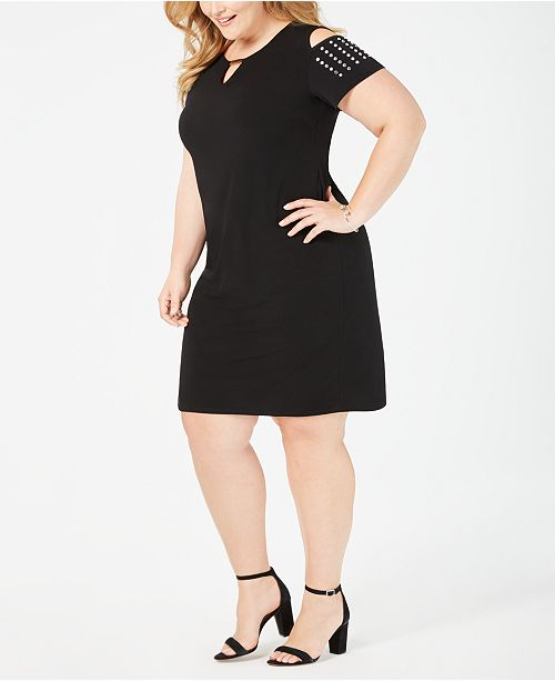JM Collection Plus Size Studded Cold-Shoulder Sheath Dress ...