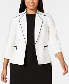 Kasper Plus Size Piped Open-Front Blazer