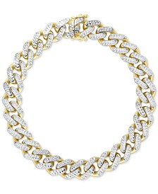 Two-Tone Wide Curb Link Bracelet in 10k Gold & 10k White Gold