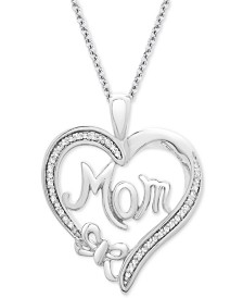 "Diamond Mom Heart Pendant Necklace (1/10 ct. t.w.) in Sterling Silver, 18"" + 2"" extender"