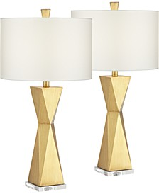Quadrangle Brushed Gold Table Lamp - Set of 2