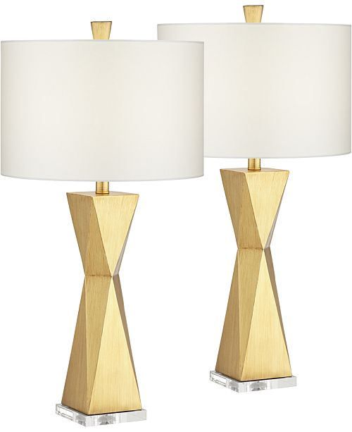 Pacific Coast Quadrangle Brushed Gold Table Lamp - Set of 2